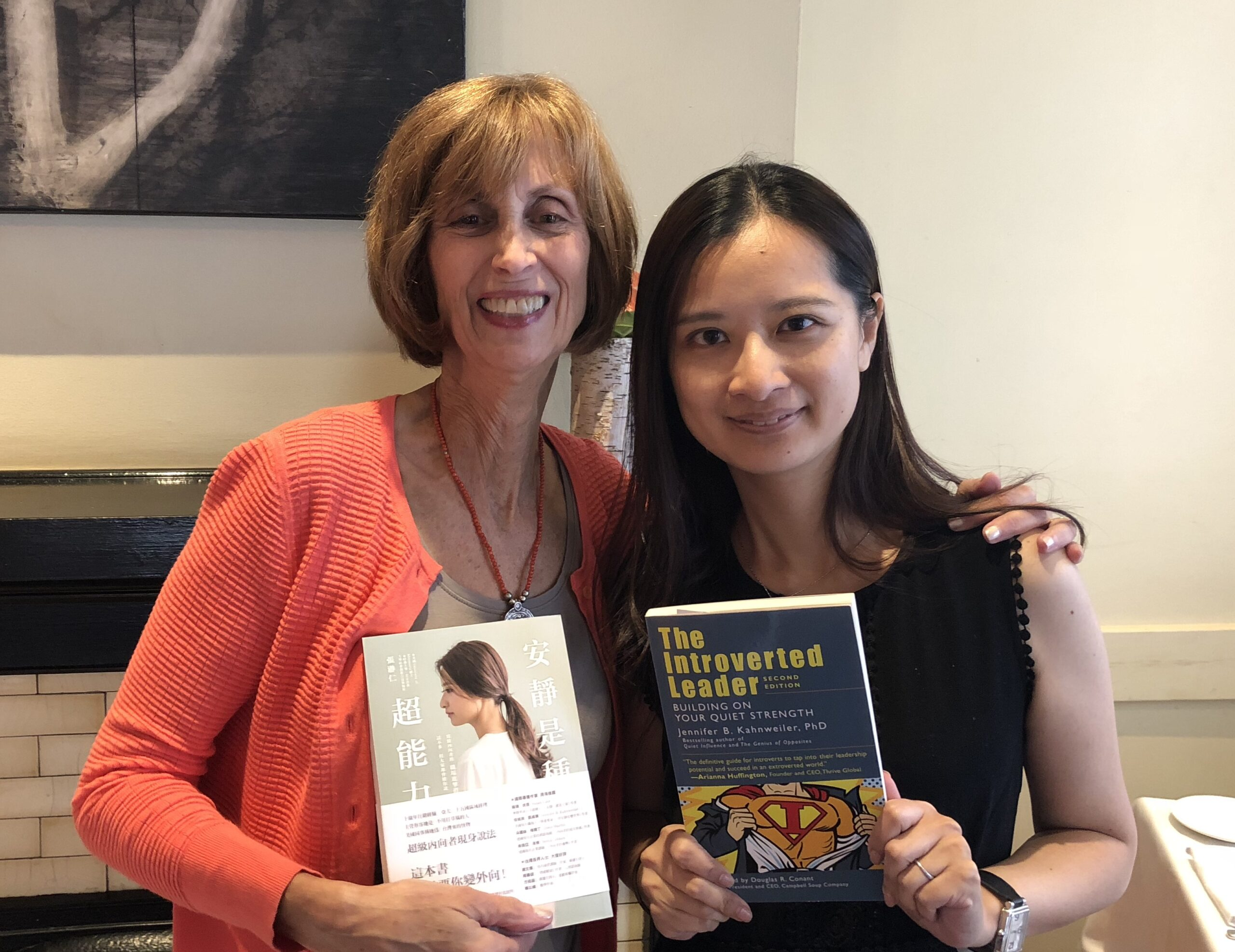 Quiet is the New Superpower: Jennifer Kahnweiler and Jill Chang showing off their books on introverts